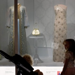 Admiring the First Ladies' dresses