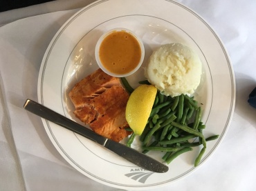 Salmon, mashed potatoes, and green beans